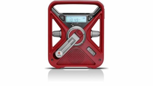 The multi-function, smartphone-charging and weather alert radio (red)